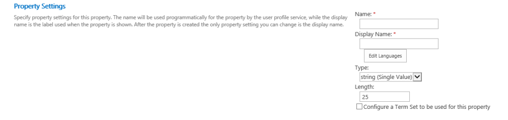 "Managing ""User property fields"" in SharePoint 2013 (3/6)"