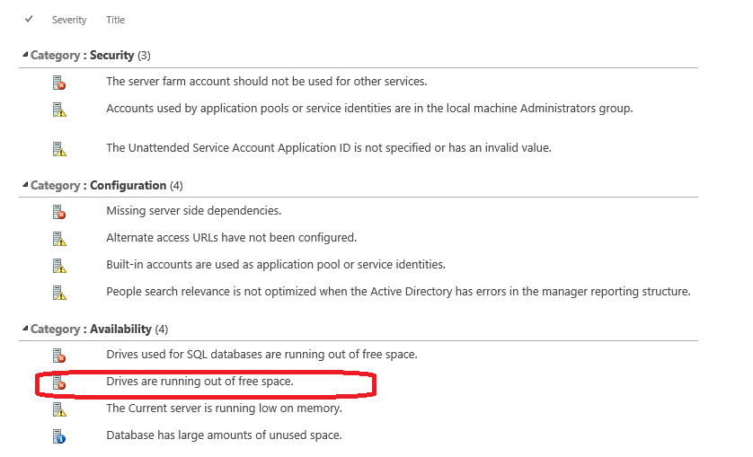 "Dealing with ""Drives are running out of free space"" SharePoint Health Analyzer alert: (1/2)"
