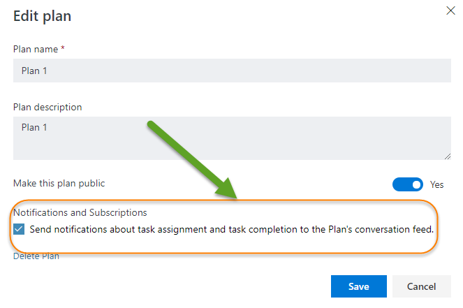 How Email notification works in Microsoft Planner